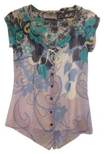 Elie Tahari Floral Sheer Feminine Top blue