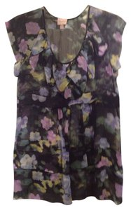 Tracy Reese Sheer Watercolor Print Floral Ruffled Top black