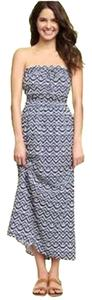 Blue and White Maxi Dress by Gap Maxi Strapless Print