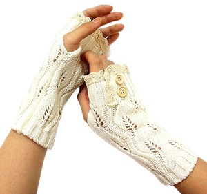 White Beige Lace Trim Button Accent Knit Fingerless Thumbhole Arm Warmer Gloves