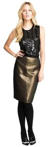 Tory Burch Shimmering Black Copper Pencil Girly Skirt Gold