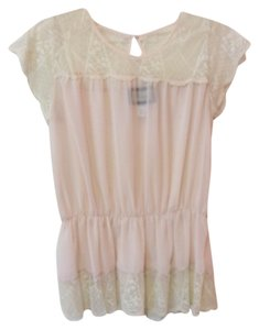 Emmelee Sheer Lace Anthropology Francescas Top Cream