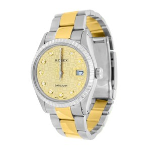 Rolex Date Just I Mens Rolex Watch Yellow Diamond Dial Stainless Steel
