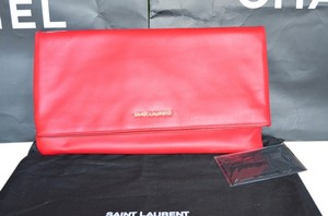 Saint Laurent Ysl Foldover Red Clutch