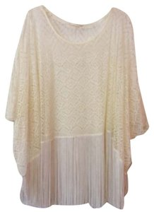 Lush Tank Lace Tassels Layer Top Cream