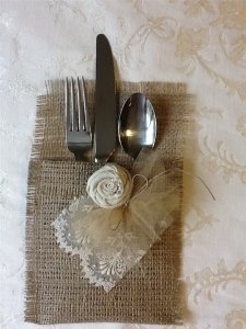 Light Brown and Antique Ivory Lace 80 Rustic Romantic Burlap Silverware Pouches Tableware