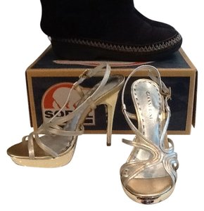 Gianni Bini Metallic Strappy Gold and Silver Platforms