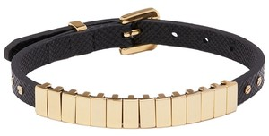 Michael Kors Black Saffiano Leather Bracelet with Gold tone Links
