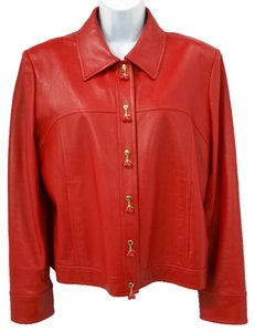 St. John Sport Sporty Soft RED Leather Jacket