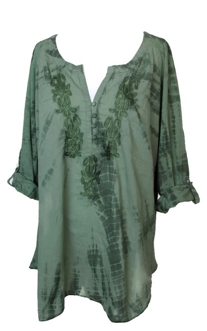 Item - Green XL Boho Peasant Tunic Tie Dye Blouse Size 16 (XL, Plus 0x)