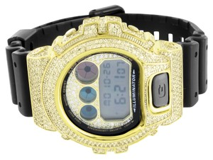 G-Shock G Shock Mens Digital Watch Shock Resistant Black Resin Band Yellow Lab Diamonds
