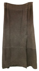 Douglas Hannant Suede Leather Maxi Skirt BROWN