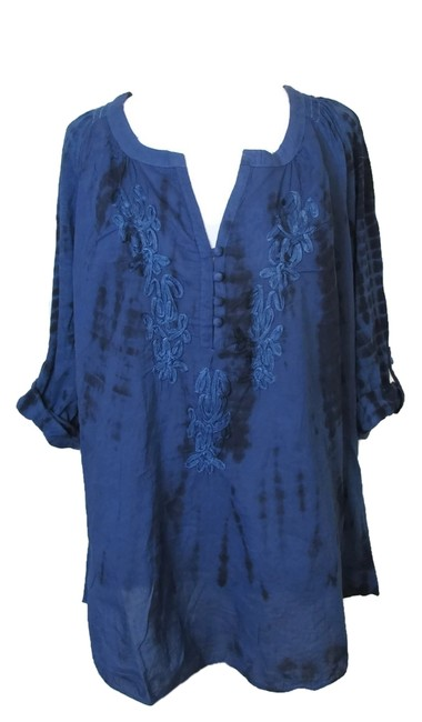 Item - Blue XL Boho Peasant Tunic Tie Dye Blouse Size 16 (XL, Plus 0x)