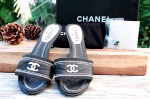 Chanel White Heels Slip 40 Black Sandals