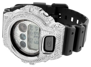 G-Shock Mens G Shock Watch White Gold Finish Black Resin Band Digital Simulated Diamonds