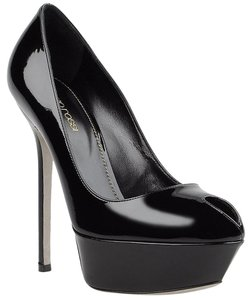 Sergio Rossi Patent Leather Stiletto Peep Toe Black Platforms