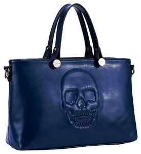 Mechaly Skull Skull Skull Vegan Leather Skull Dress Satchel in Blue