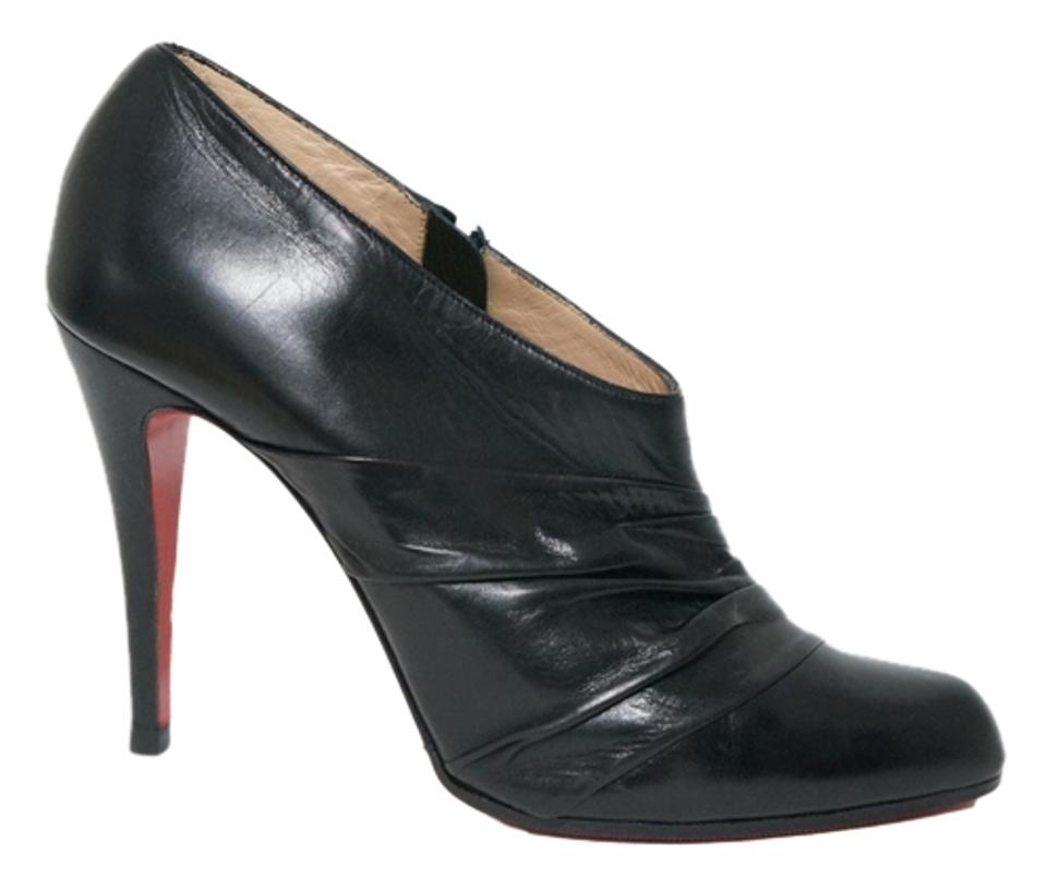 ce2afac1ae1 Christian Louboutin Black Leather 37.5 Boots Booties Size US 6.5 ...