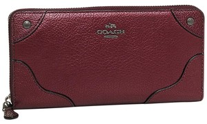 Coach NEW COACH Grain Leather Mickie Zip Wallet coins purse METALLIC Red