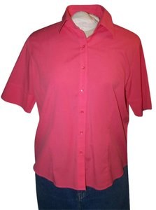Talbots 16 Wrinkle Resistant Short Sleeve New Button Down Shirt Peach