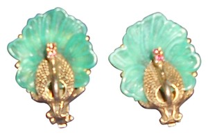 Vintage Peacock Clip On Earrings Gold Tone With Rhinestones