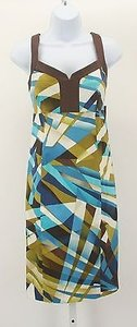 Nine West short dress Brown White Aqua Olive Navy Lime on Tradesy