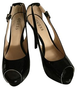 Guess Sexy Stiletto Ultra High Black Patent Platforms