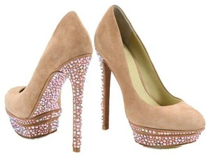 Brian Atwood Suede Crystals Nude Pumps