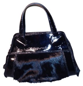 Sergio Rossi Unique Patent Leather Evening Satchel in Black