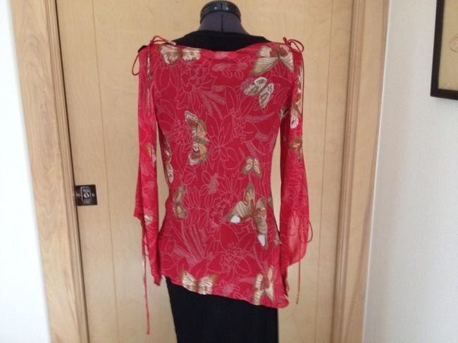 Angie Boho Festival Hippie Top Red, with Light Brown and Tan