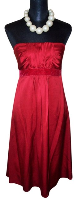 Banana Republic Red Strapless Silk Knee Length Cocktail Dress Size 6 (S) Image 0