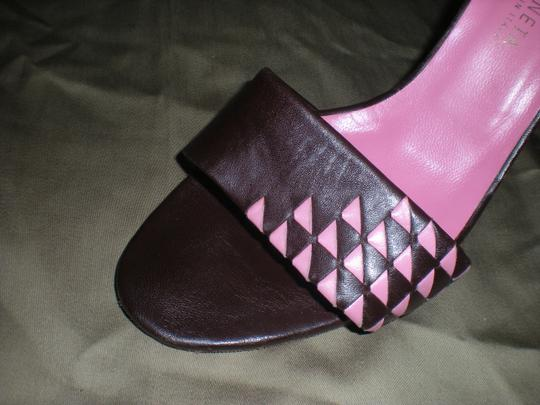 Bottega Veneta Leather Brown and Pink Sandals