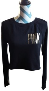 PINK Metallic Crop Sweatshirt