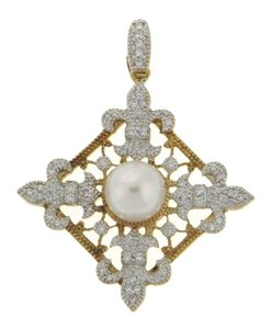 Wholesale - STUNNING 18k gold Diamond & Pearl cocktail pendant/ necklace
