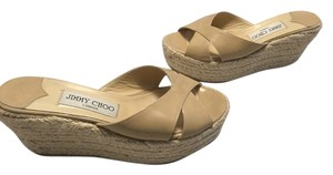 Jimmy Choo Lining Beige patent leather jute rope espadrille Wedges