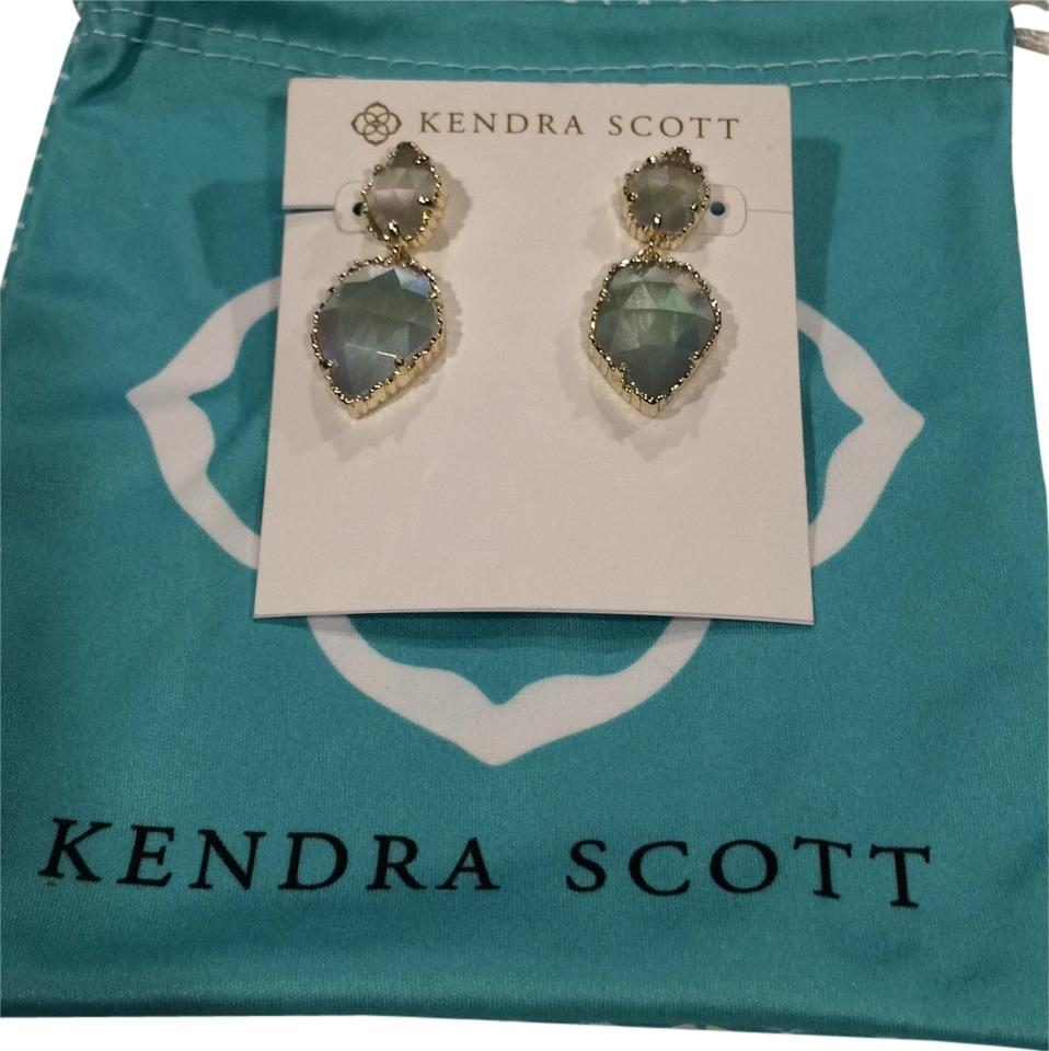 Kendra Scott Gold Drop Earrings In Iridescent Slate