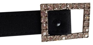 Black satin belt with rhinestone buckle