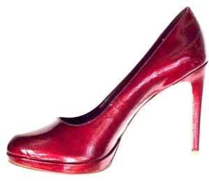 BCBGeneration Red Tumbled Pearl Patent Pumps