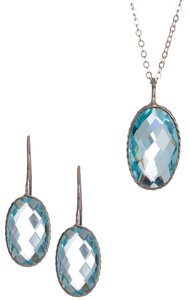 Savvy Cie New! Savvy Cie London Blue Topaz (24 ctw) oval pendant necklace and earrings set