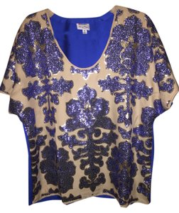 Tracy Reese Sequin Gold Top Blue