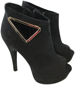 bebe Faux Suede Stilletto Black Boots