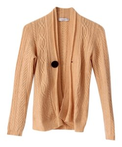 Brunello Cucinelli Cashmere Cable Knit Cardi Leather Cardigan