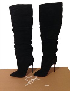 Christian Louboutin Sexy Comfy New Ishtar Botta Ruched Suede Knee High Tall Pointed Toe Boots Size 40 Boots