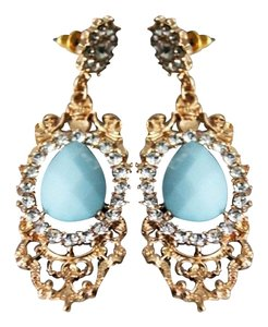 Elegant Light Blue Stone & Crystal Teardrop Chandelier Earrings.