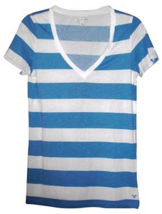 American Eagle Outfitters V-neck T Shirt Blue White Stripe