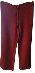 Jones New York Silk Wide Leg Pants Deep Red