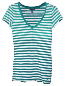 American Eagle Outfitters Thin V-neck Medium T Shirt Green White Stripe