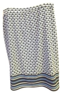 Max Studio Print Skirt Navy light blue and white
