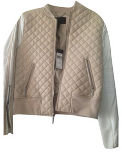 BCBGMAXAZRIA Beige/pinkish and white Leather Jacket