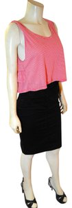 Ginger Cropped Size Medium Pink Top pink, white